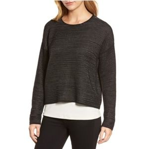 Eileen Fisher XL Black Boxy Silk Blend Top BE17